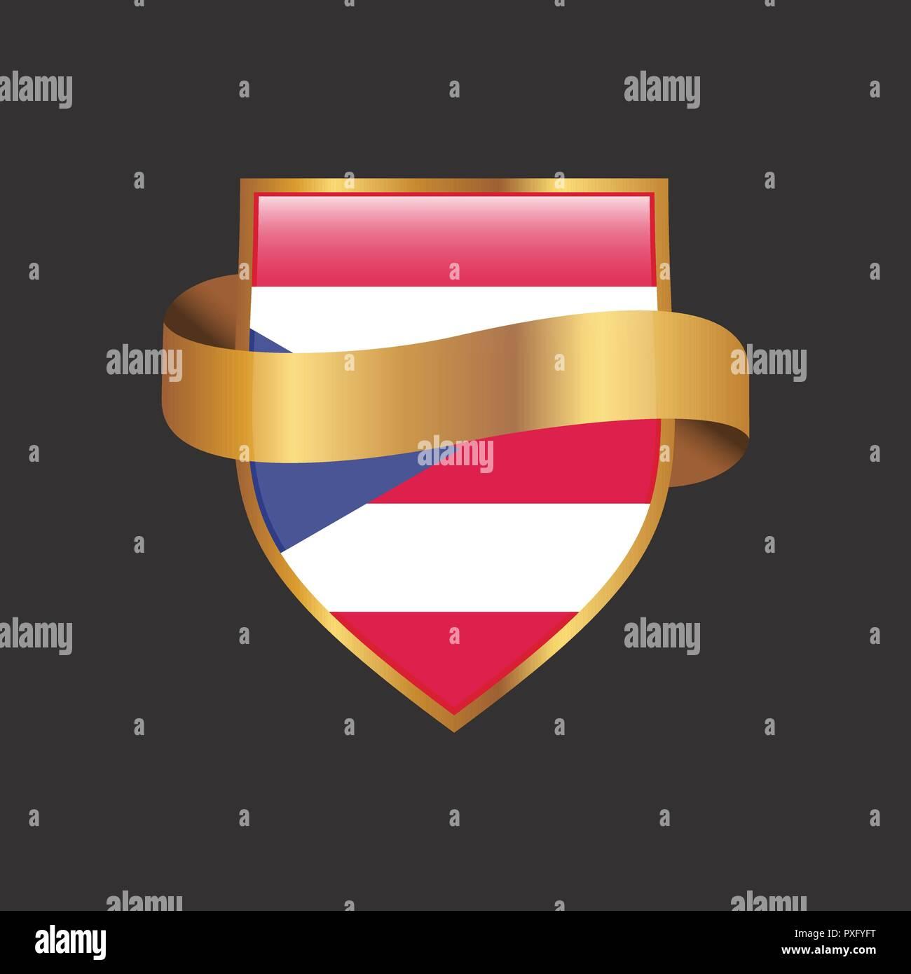 Puerto Rico Flag Golden Badge Design Vector