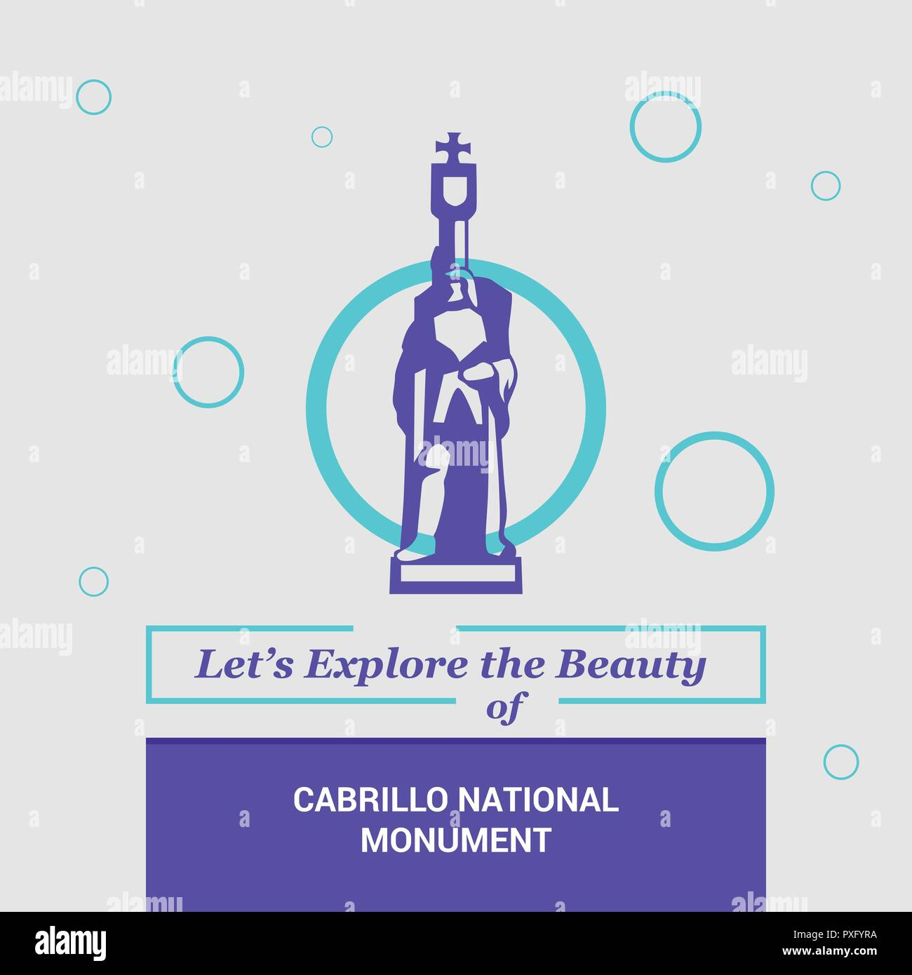 Let's Explore the beauty of Cabrillo National Monument AZ, USA National Landmarks - Stock Vector