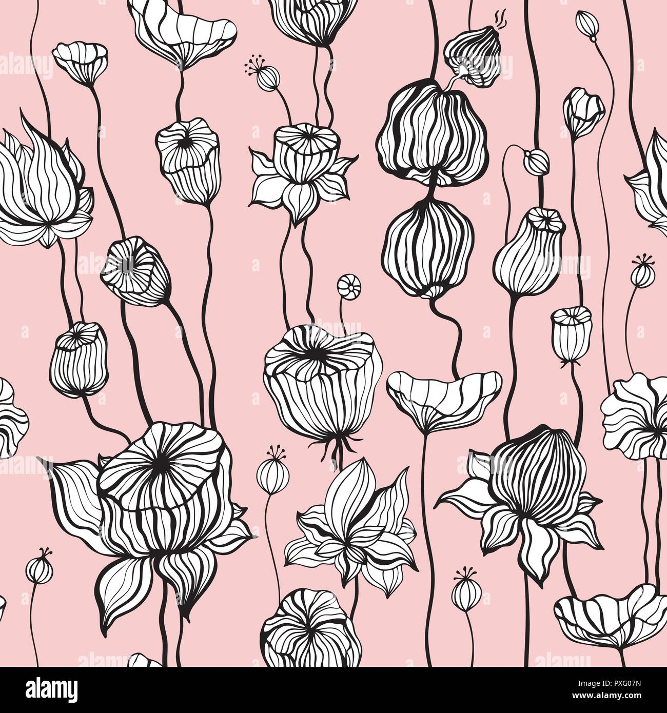 Vintage Pattern With Hand Drawn Abstract Flowers Seamless