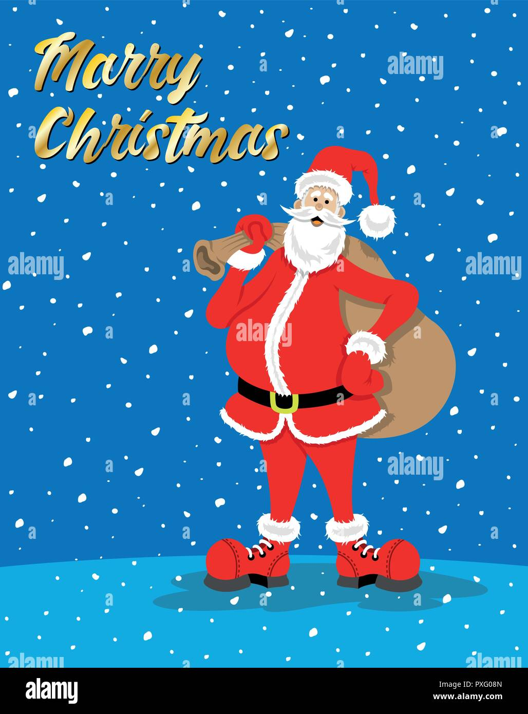 Santa Claus cartoon with merry christmas message while it\'s snowing ...