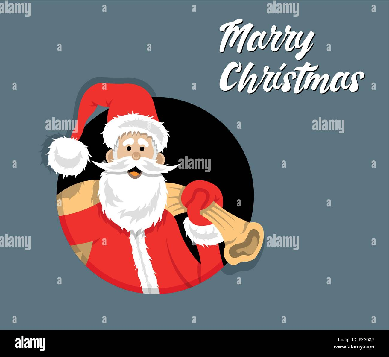 Santa Claus cartoon inside circle with merry christmas message. All ...