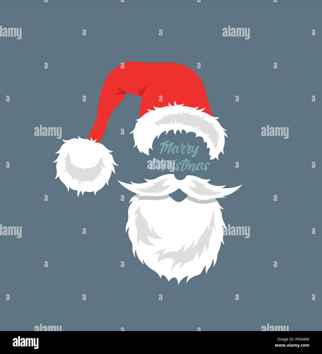 Santa Claus cartoon with merry christmas message. All the objects ...