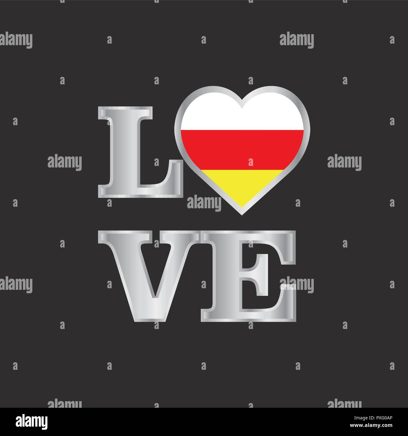 Love typography South Ossetia flag design vector beautiful lettering - Stock Image