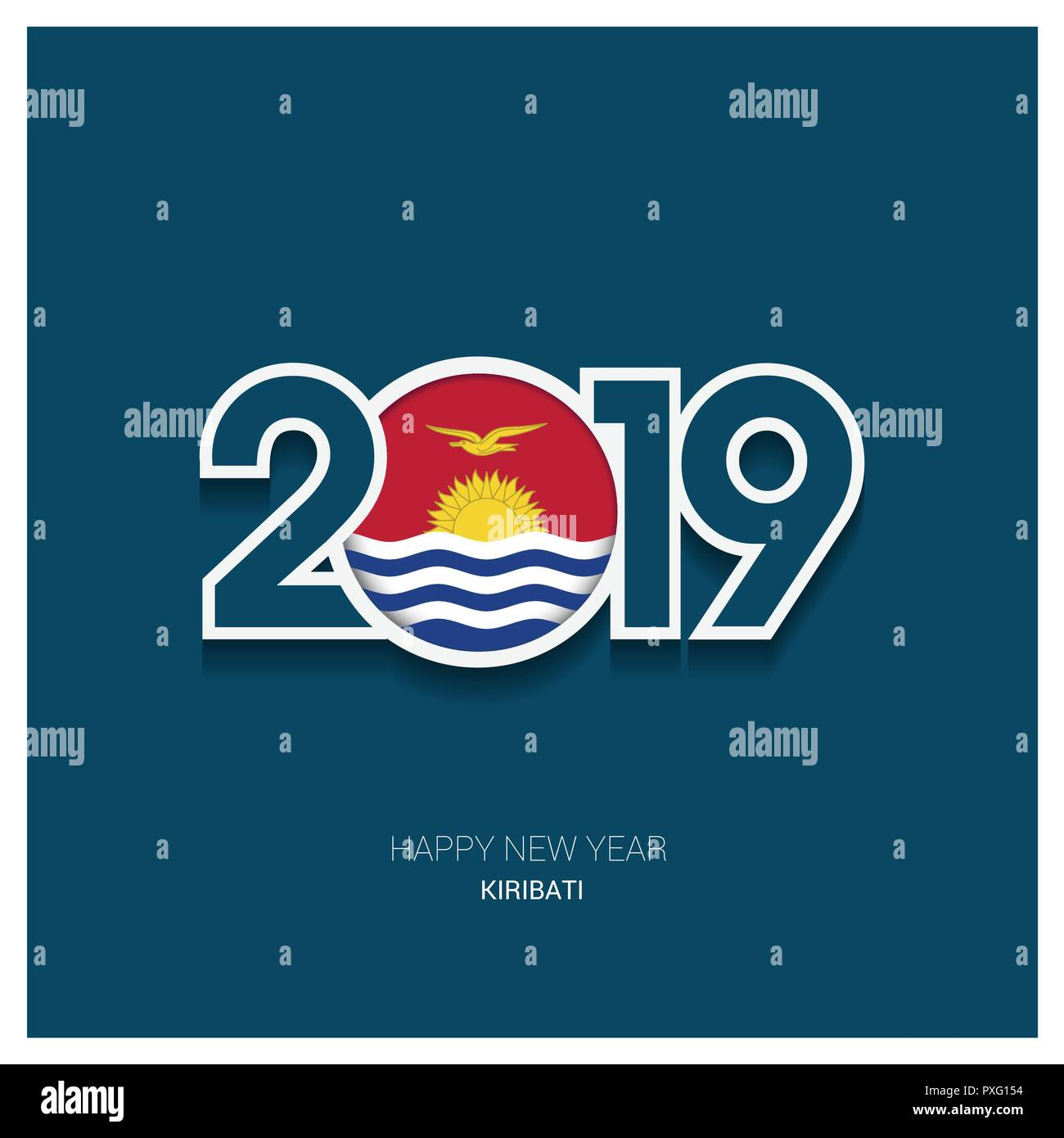 2019 Kiribati Typography, Happy New Year Background - Stock Image