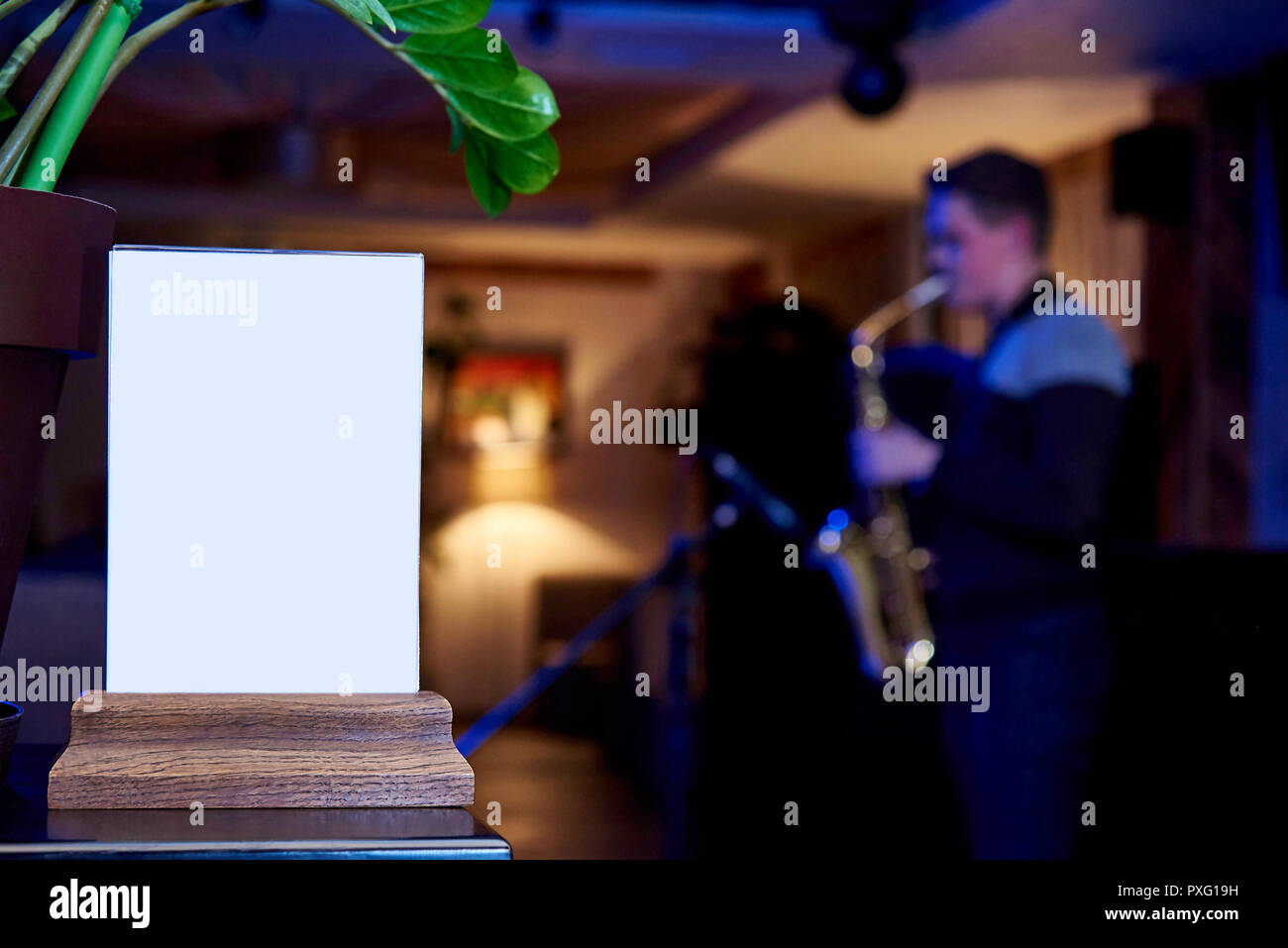 mockup label of an empty frame menu in a restaurant bar stand for