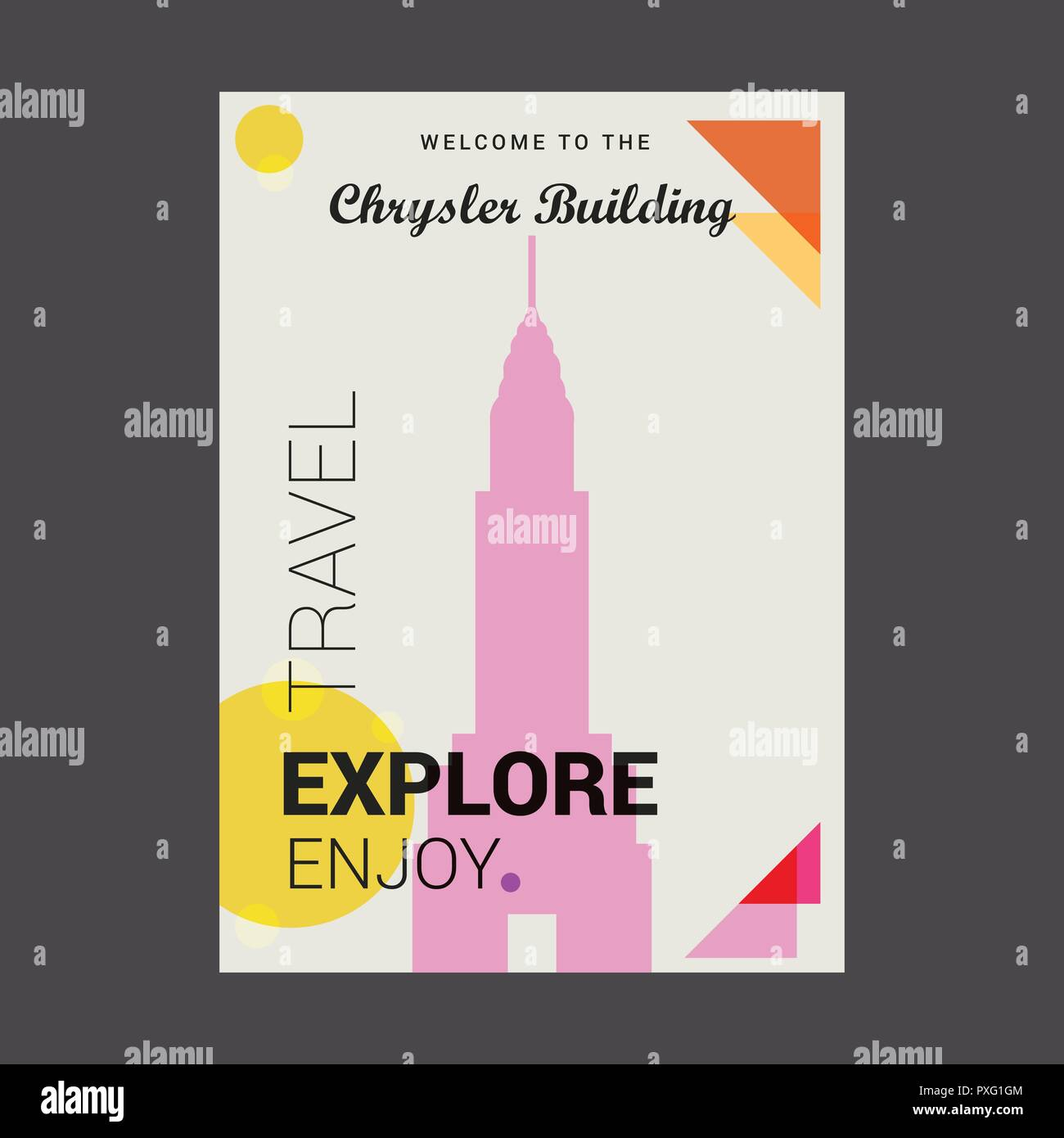 Welcome to The Chrysler Building Manhattan, New York Explore, Travel Enjoy Poster Template - Stock Vector