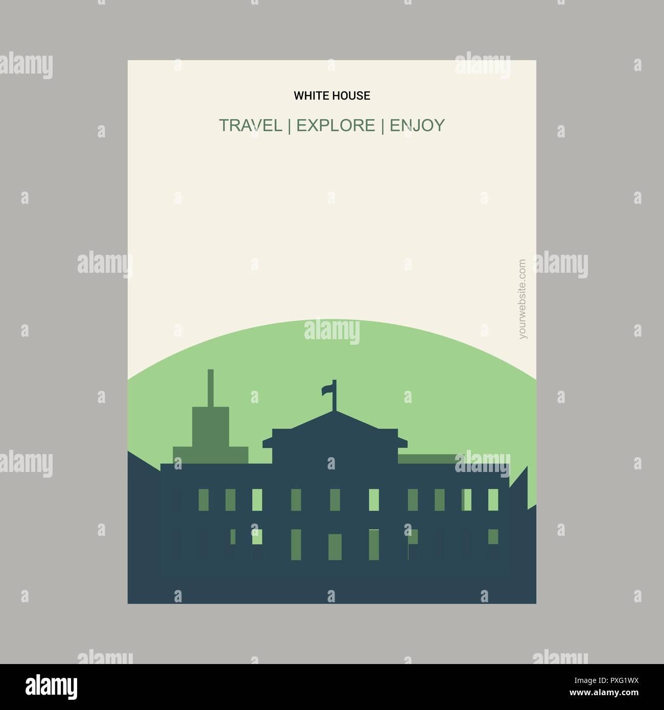 White house Washington, D.C.  U.S.A Vintage Style Landmark Poster Template - Stock Vector