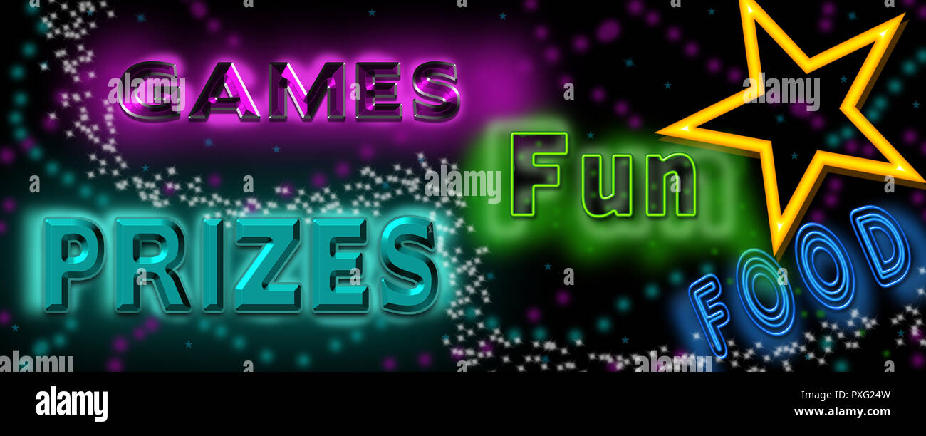 Neon Banner For Events Games Prizes Food And Lots Of Fun Bright Neon Colors On Black Background Stock Photo Alamy