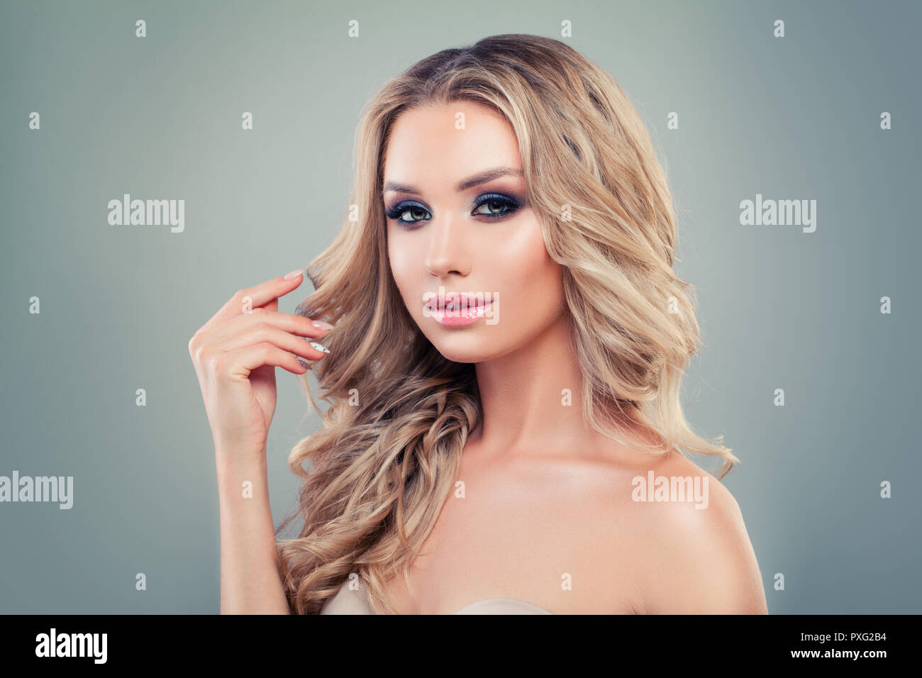 Perfect Blonde Woman With Long Curly Hair And Makeup On Banner Background Stock Photo Alamy