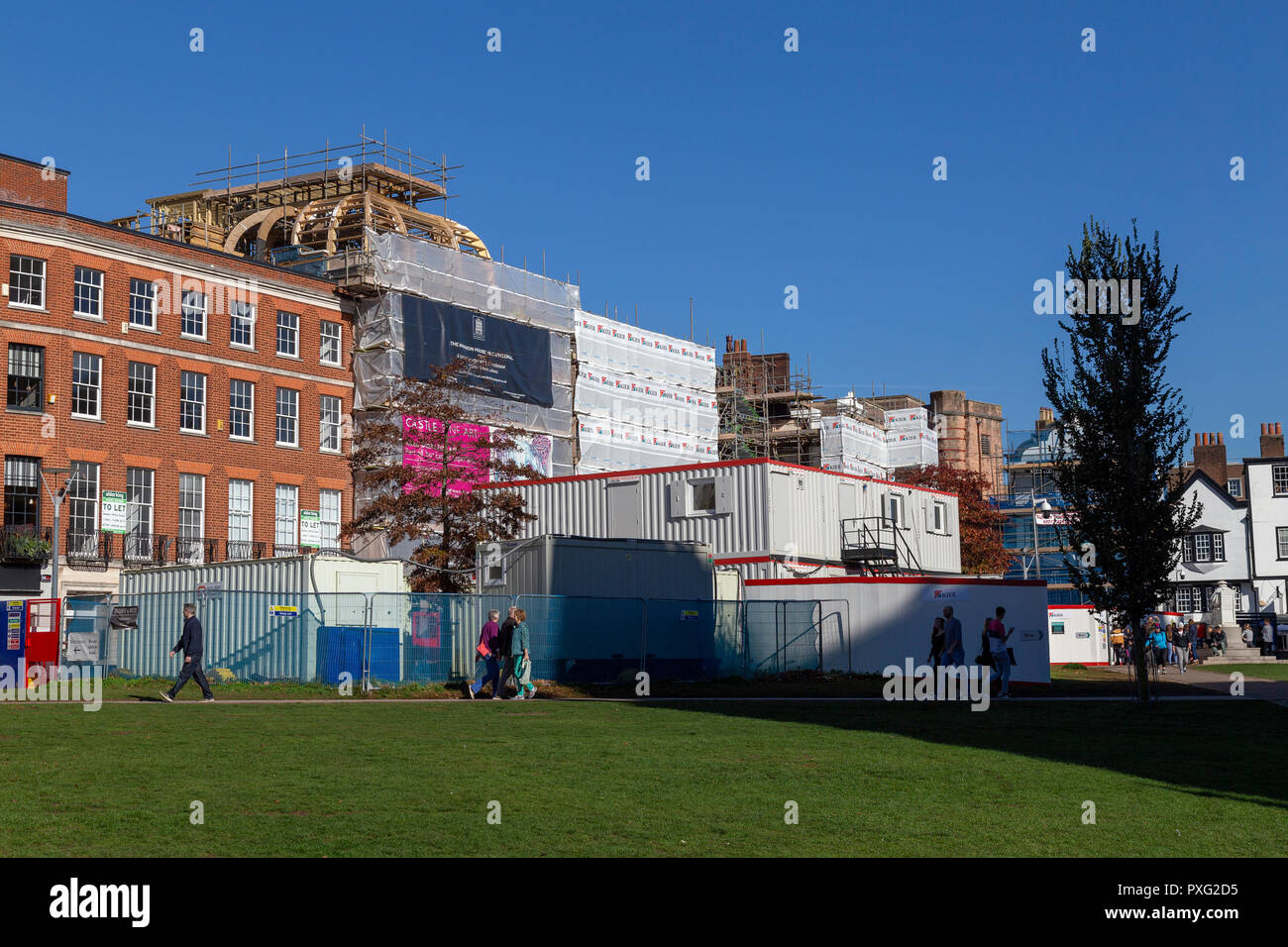Exeter Cathedral yard- England, Architecture, Building Exterior, City, Devon, England,rebuilding Clarence hotel Exeter, Stock Photo