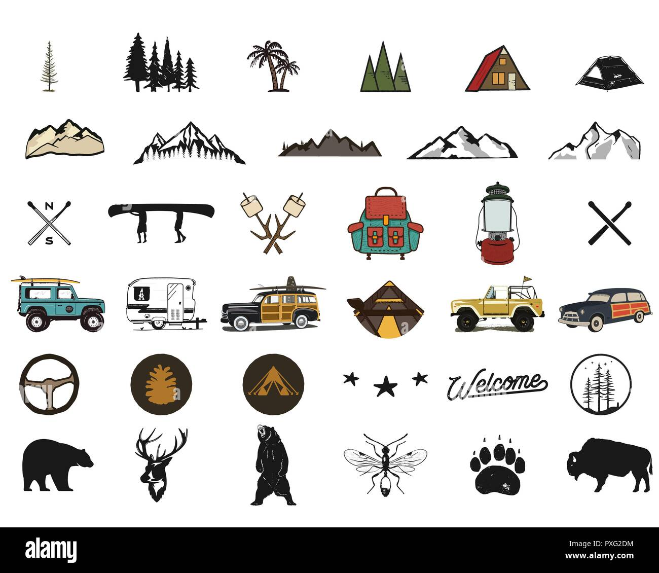 Vintage hand drawn adventure symbols, hiking, camping shapes of backpack, wild animals, canoe, surf car, backpack. Retro monochrome design. For t shirts, prints. Stock silhouette icons isolated - Stock Vector