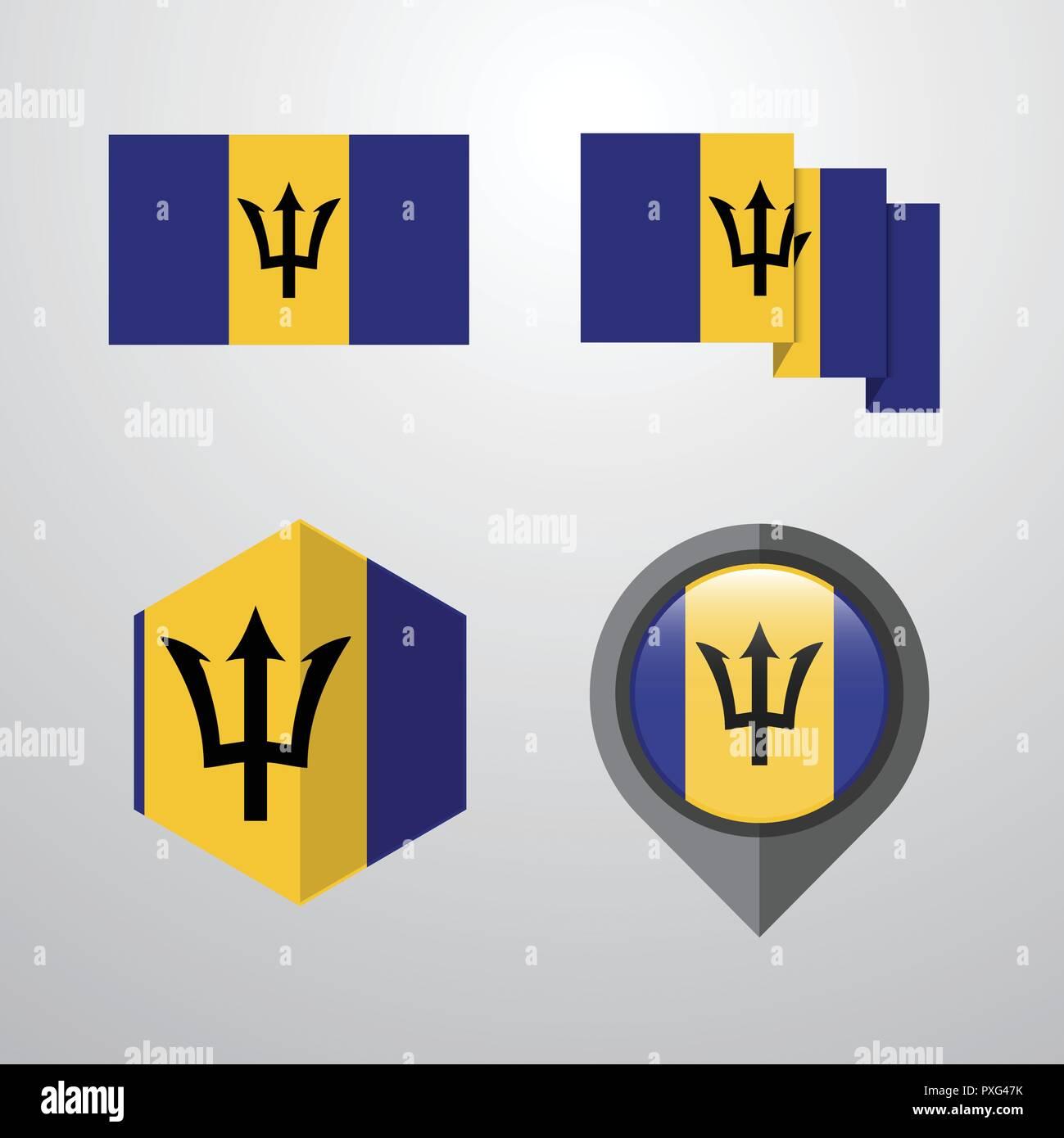 Barbados flag design set vector - Stock Vector