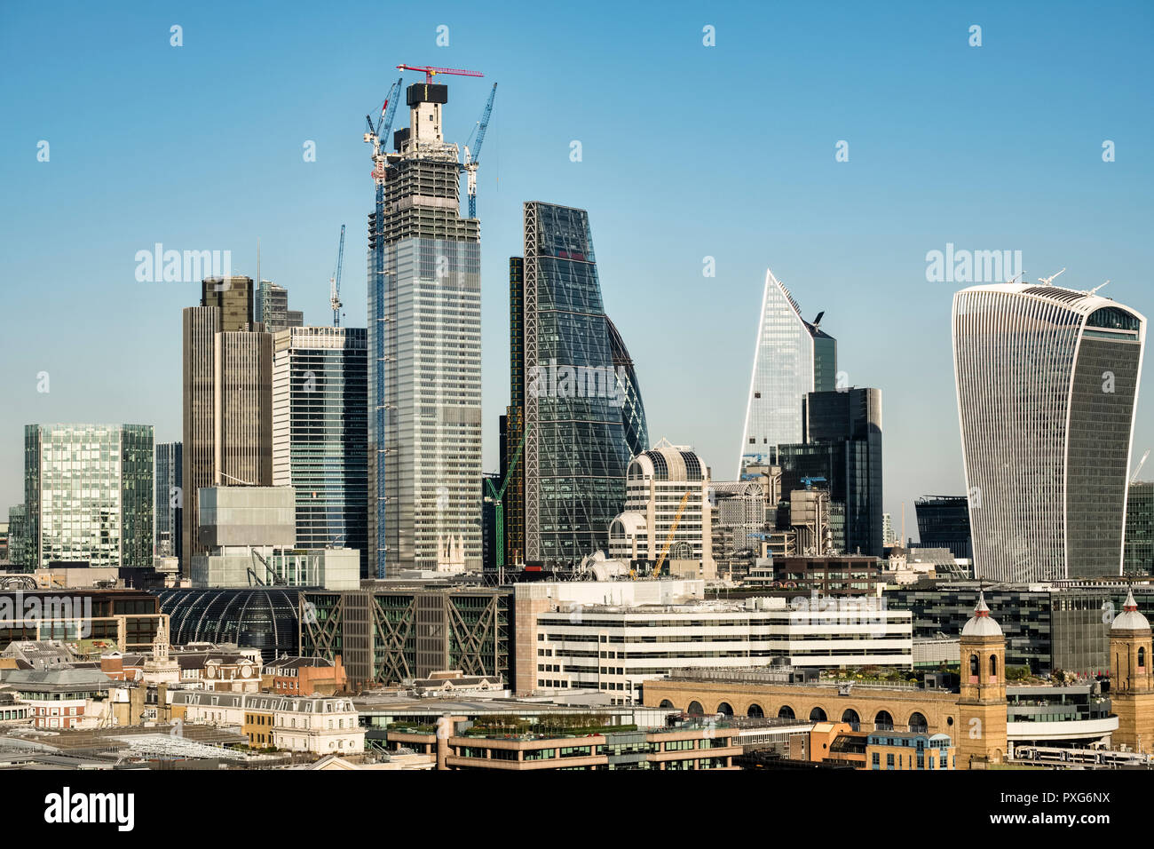 London, UK. View from the top floor of the Tate Modern gallery on Bankside, showing high-rise office buildings in the financial district of the City - Stock Image