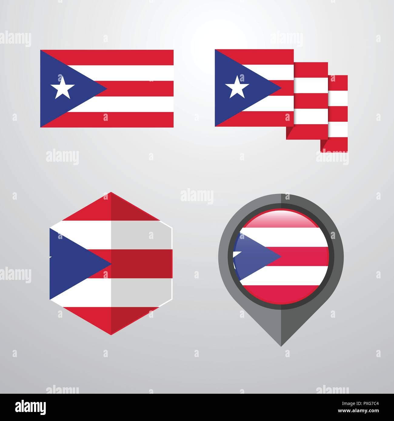 Puerto Rico Flag Design Set Vector