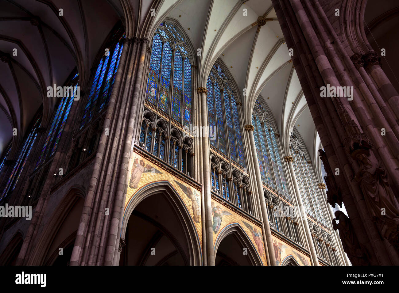 windows of the Choir of the cathedral, Cologne, Germany.  Fenster im Chor des Doms, Koeln, Deutschland. - Stock Image