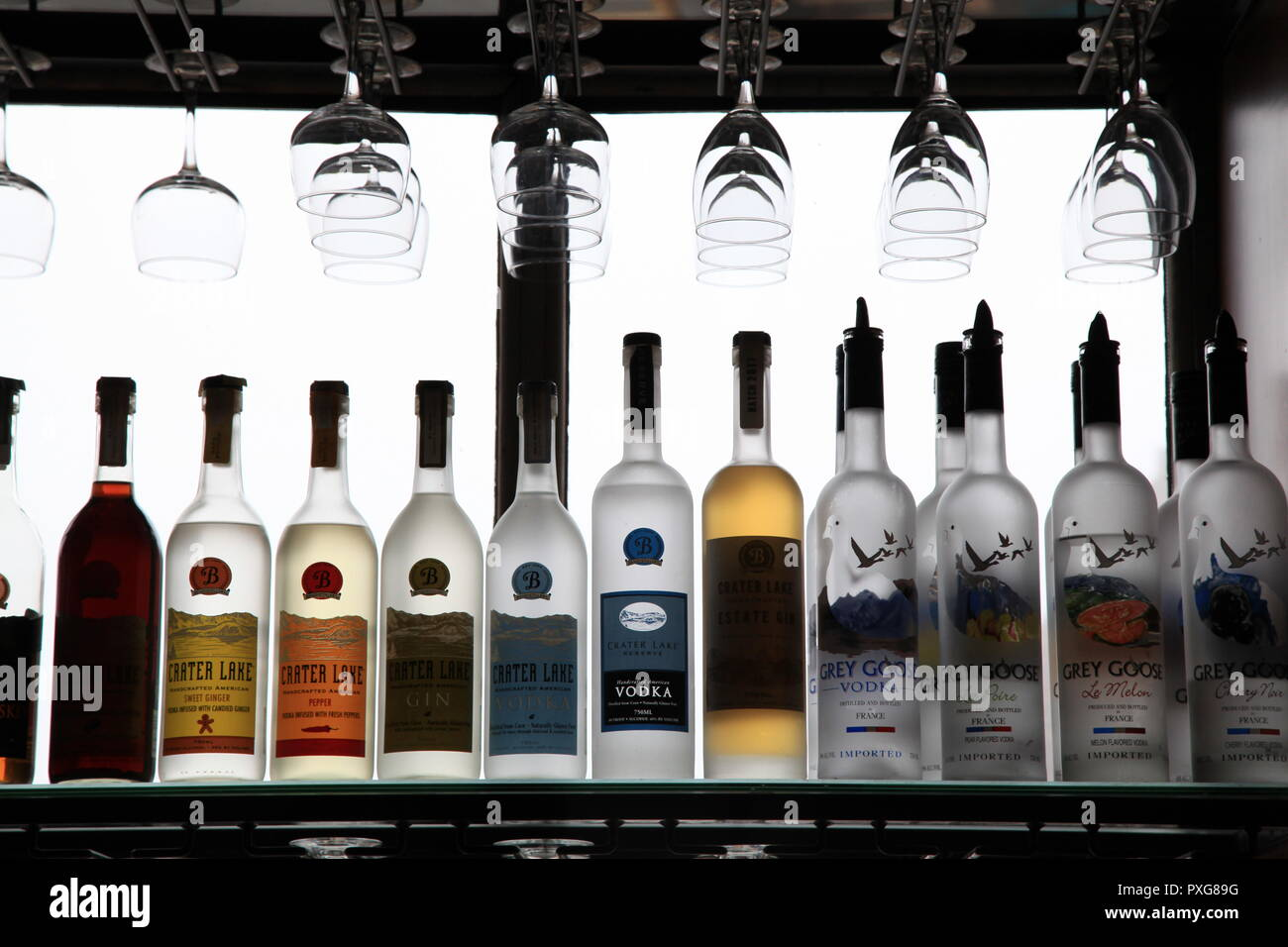 Backlit Bottles - Stock Image