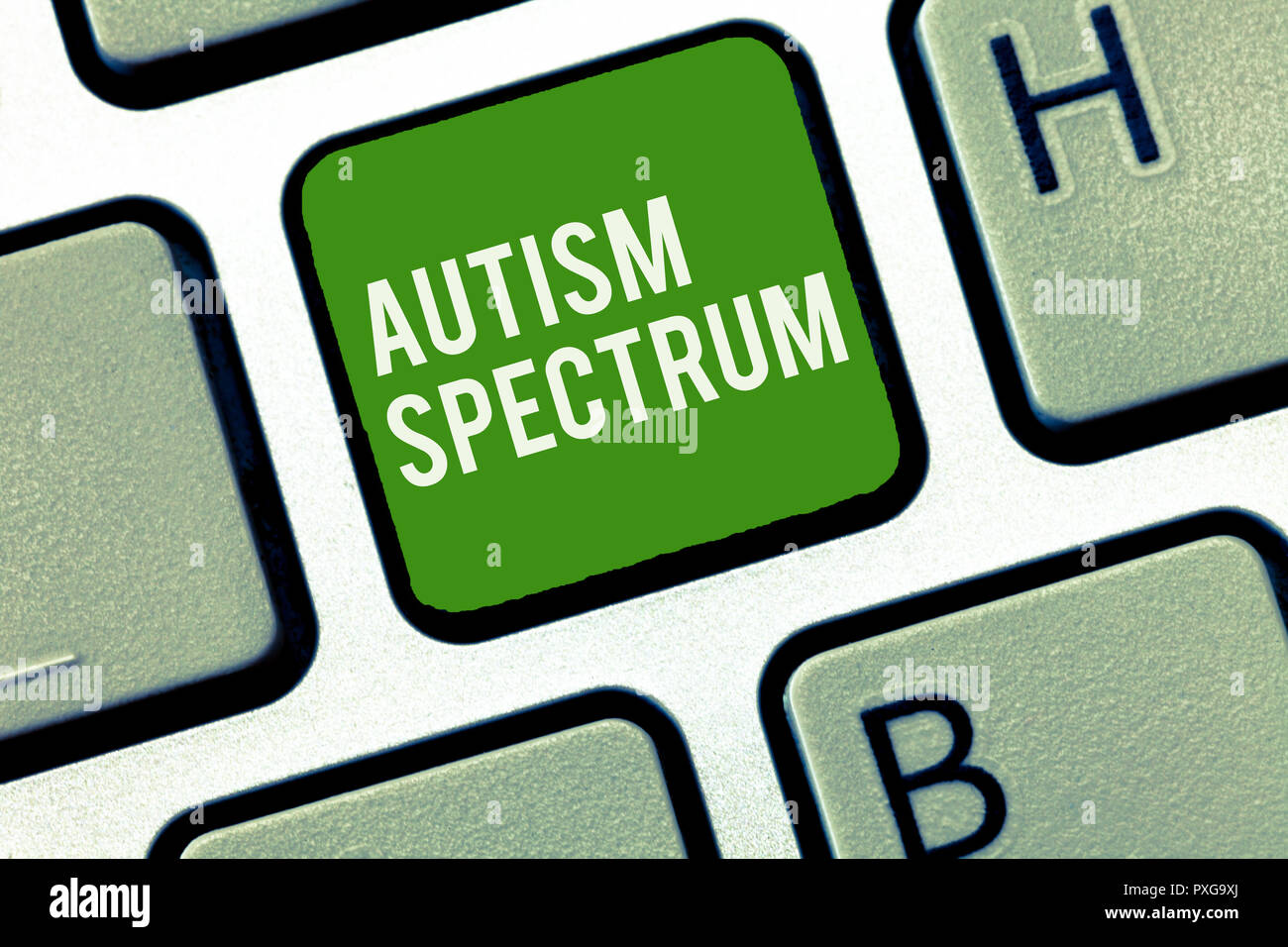 Conceptual hand writing showing Autism Spectrum. Business photo showcasing impairments in the ability to communicate and socialize. - Stock Image