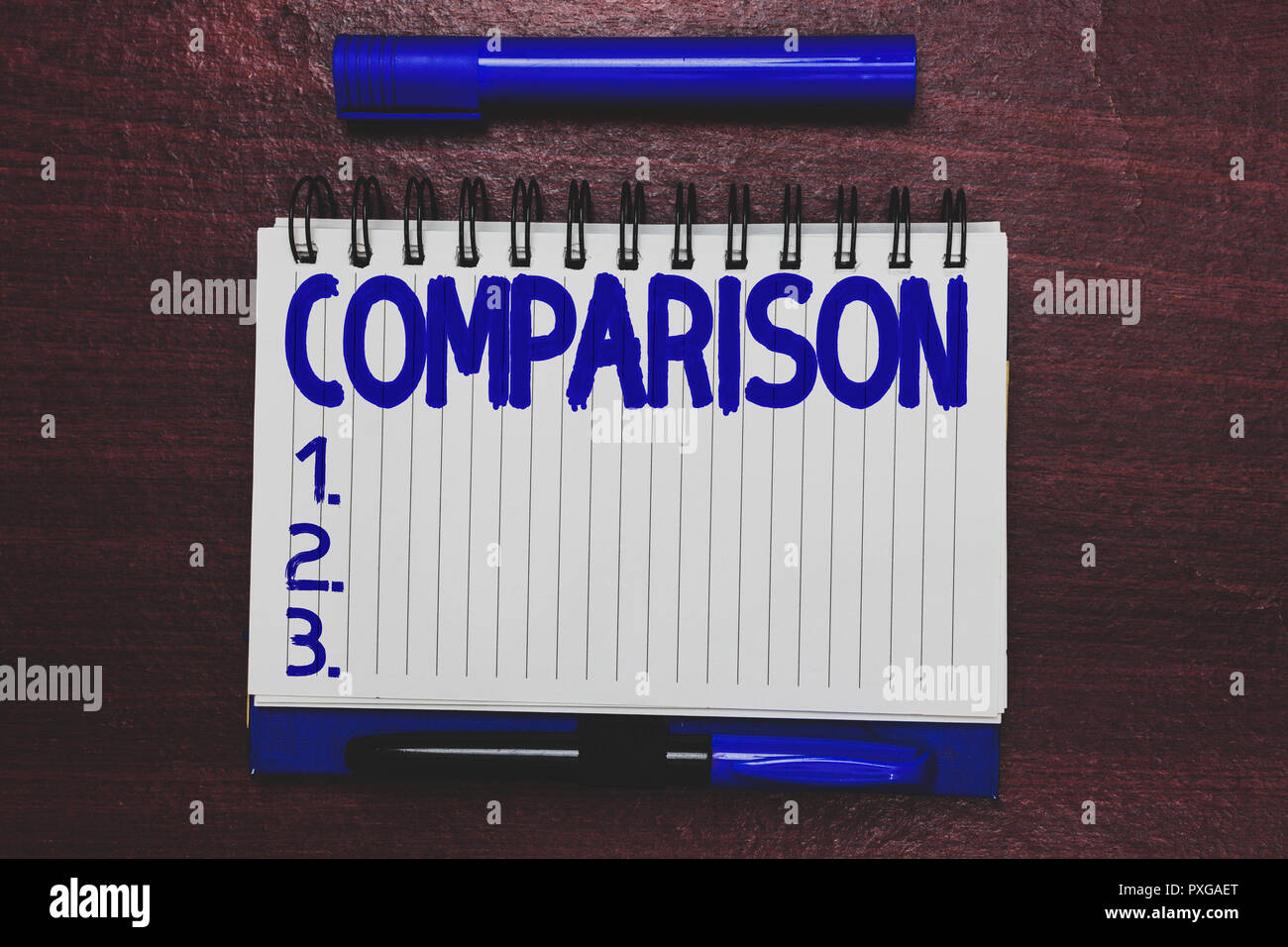 Conceptual hand writing showing Comparison. Business photo text Estimate similarities dissimilarities between two things showing Open notebook page ma Stock Photo