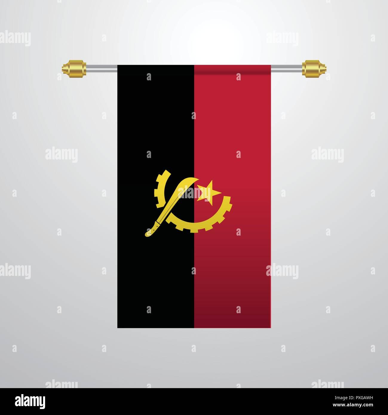 Angola hanging Flag - Stock Vector