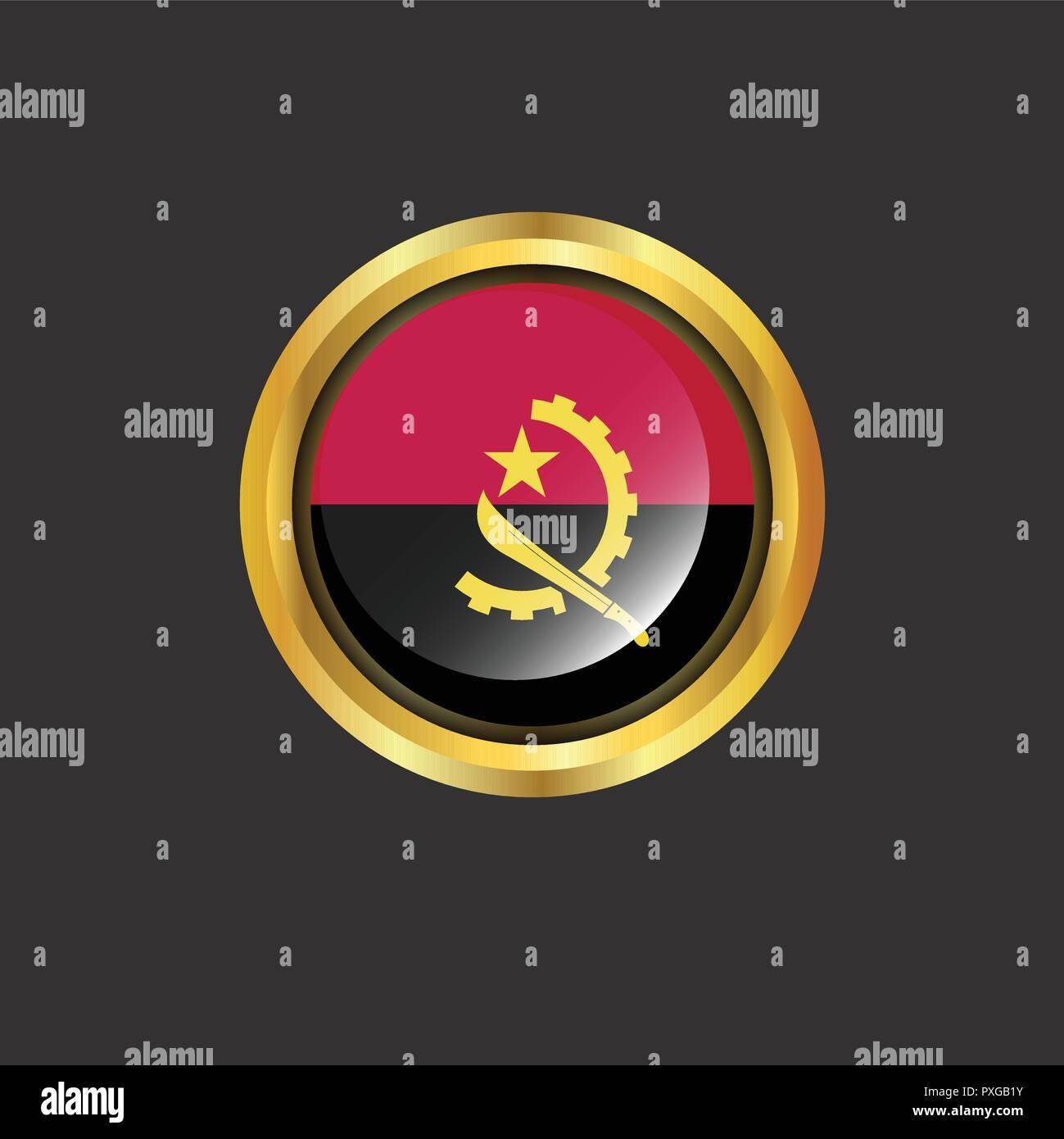 Angola flag Golden button - Stock Vector