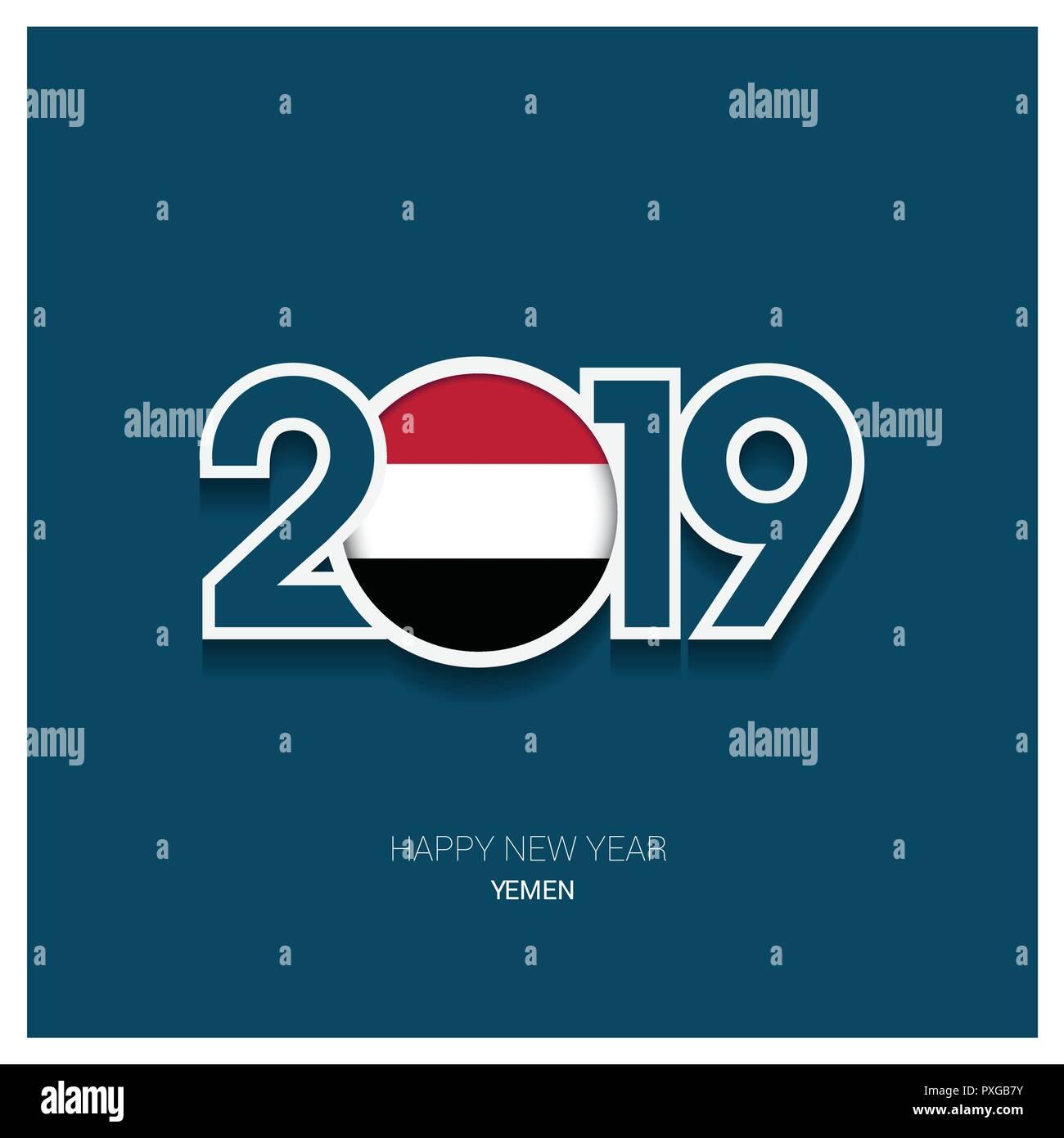 2019 Yemen Typography, Happy New Year Background - Stock Image