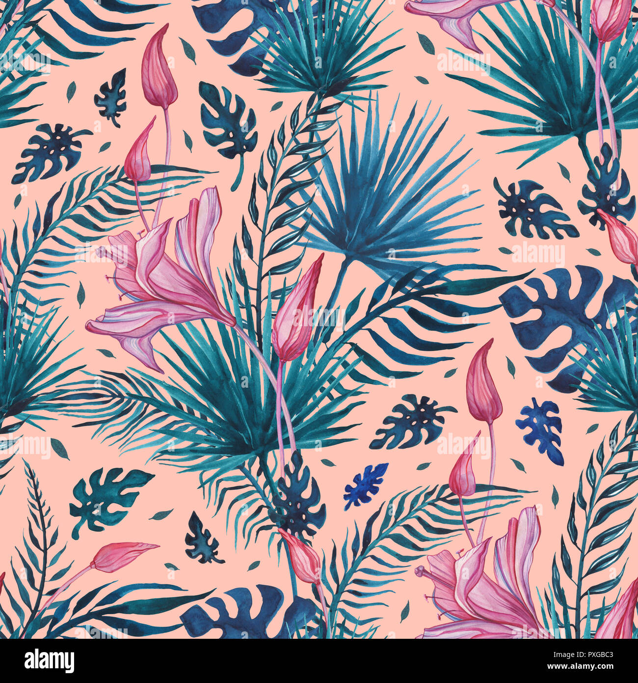 Tropical Flowers Abstract Flower Hand Drawn Floral Pattern