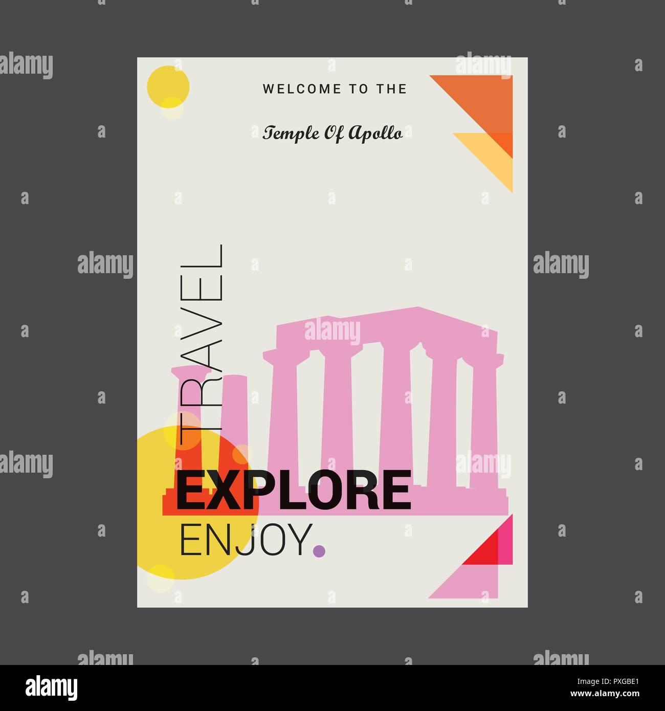 Welcome to The Temple of Apollo Attica, Greece. Explore, Travel Enjoy Poster Template - Stock Vector