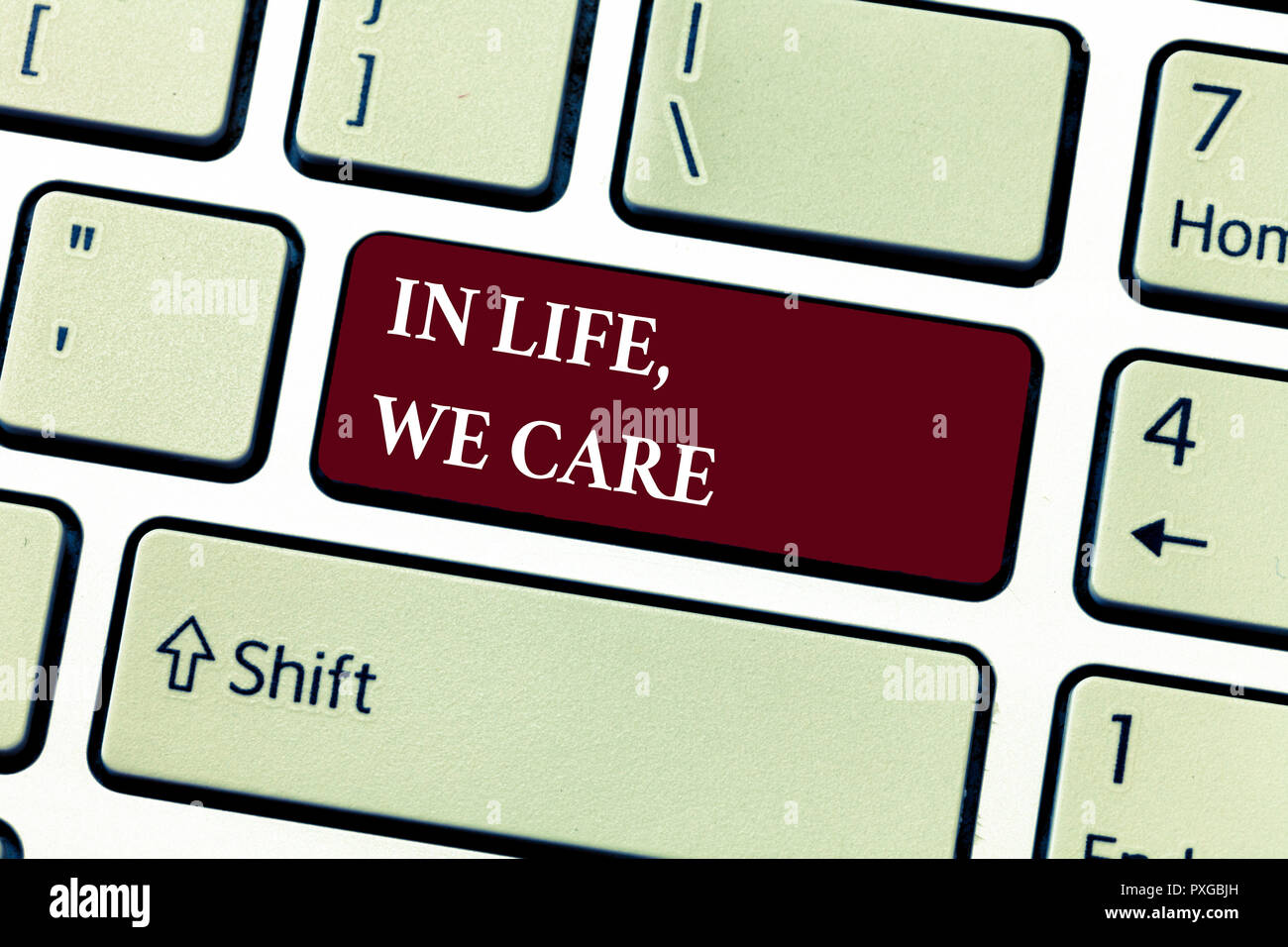 Text sign showing In Life, We Care. Conceptual photo Cherishing someones life Giving care and attention. - Stock Image