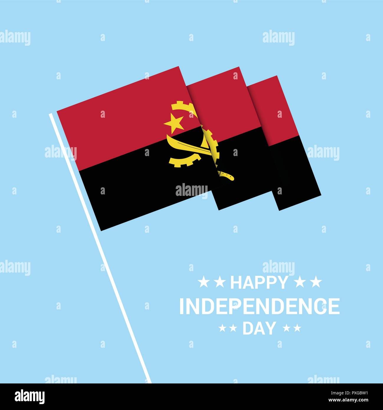 Angola Independence day typographic design with flag vector - Stock Image