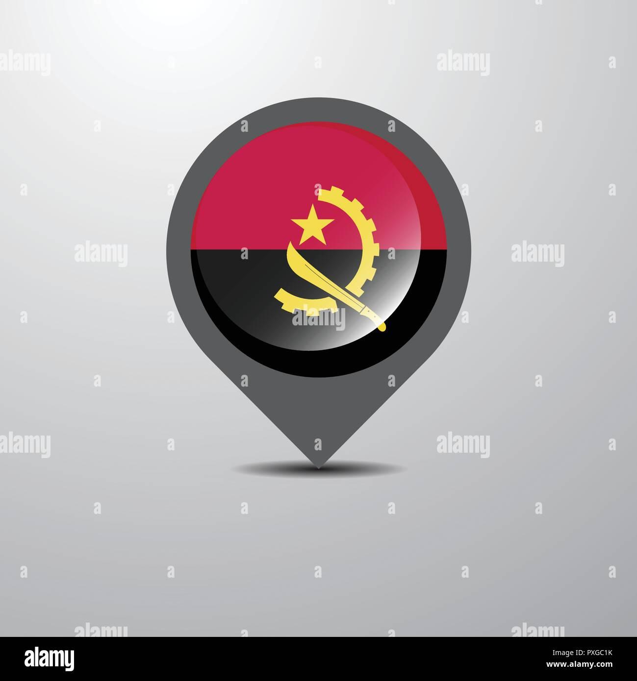Angola Map Pin - Stock Vector