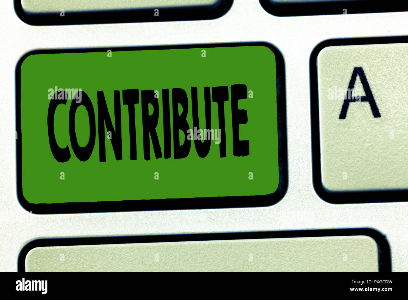 Handwriting text Contribute. Concept meaning Give in order to help achieve or provide something Help. - Stock Image