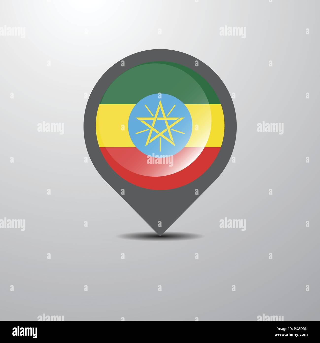 Ethiopia Map Pin - Stock Vector