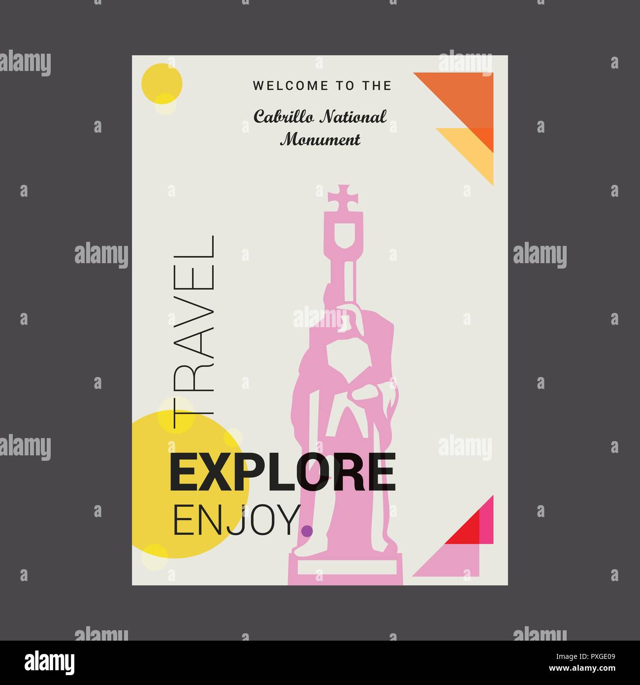 Welcome to The Cabrillo National Monument AZ, USA Explore, Travel Enjoy Poster Template - Stock Vector