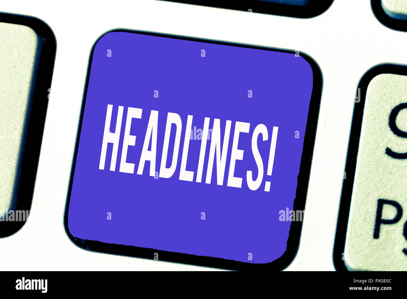 Word writing text Headlines. Business concept for Heading at the top of an article page in a newspaper or magazine. Stock Photo