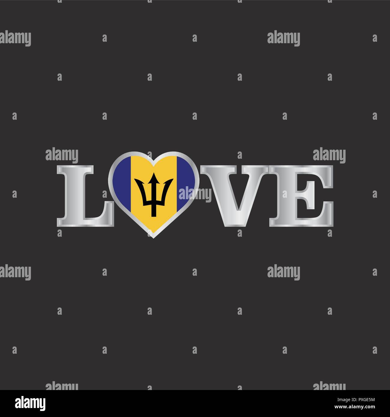 Love typography with Barbados flag design vector - Stock Vector