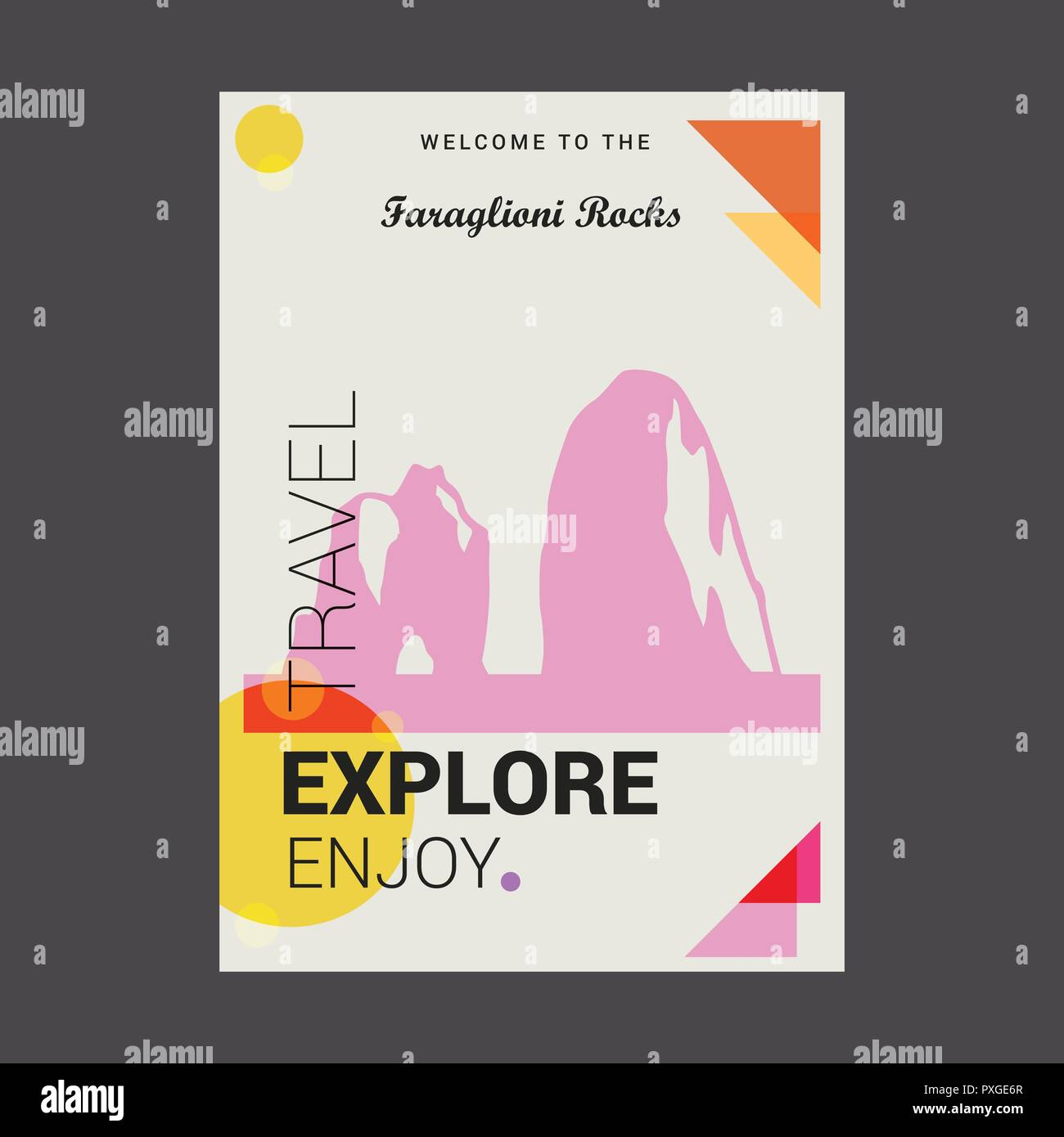 Welcome to The Faraglioni Rocks , Italy Explore, Travel Enjoy Poster Template - Stock Vector