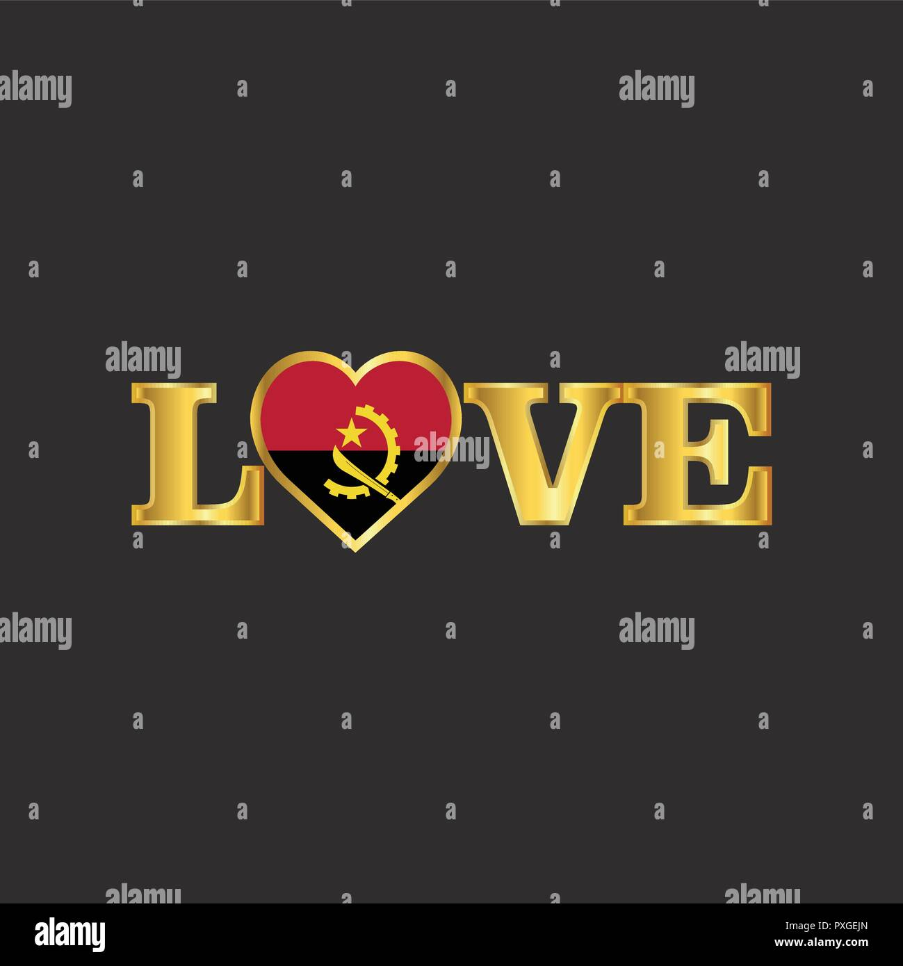 Golden Love typography Angola flag design vector - Stock Image