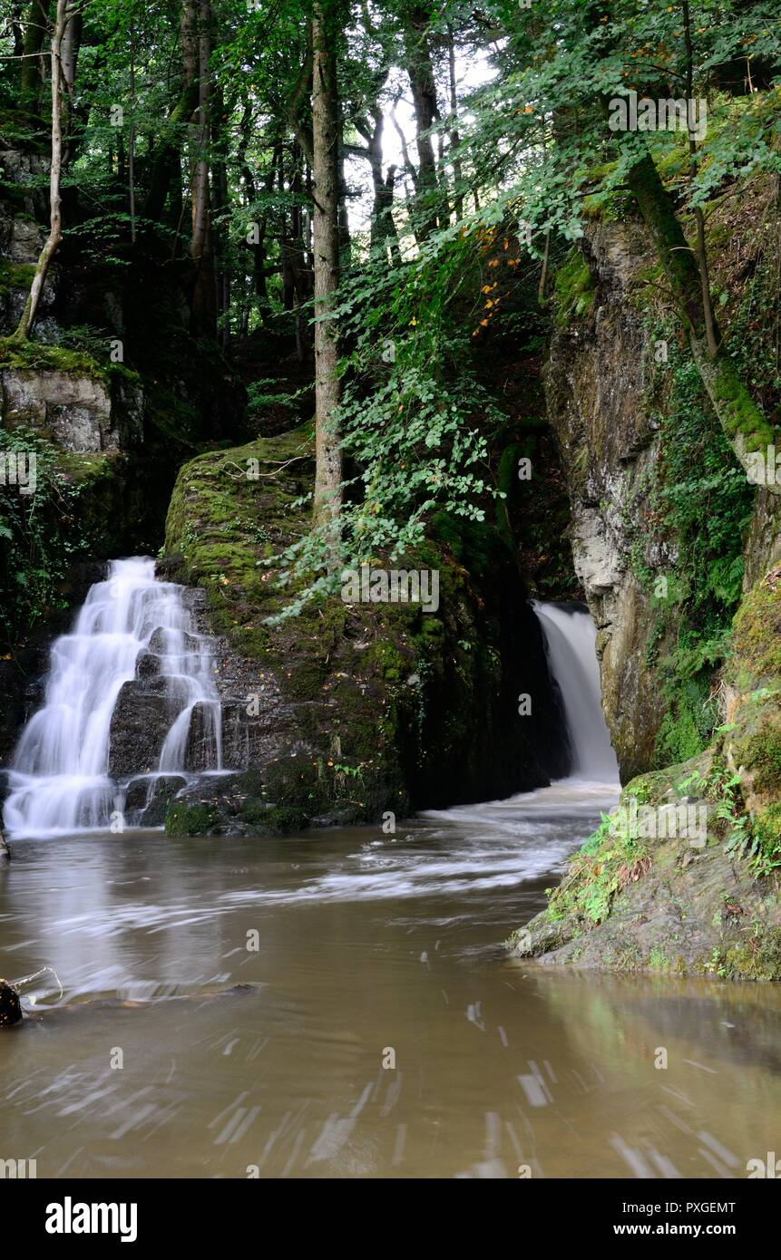 Ffynone Waterfall secluded waterfall said to be the entrance to the Celtic other world Annwn  Newchapel Pembrokeshire Wales Cymru UK - Stock Image