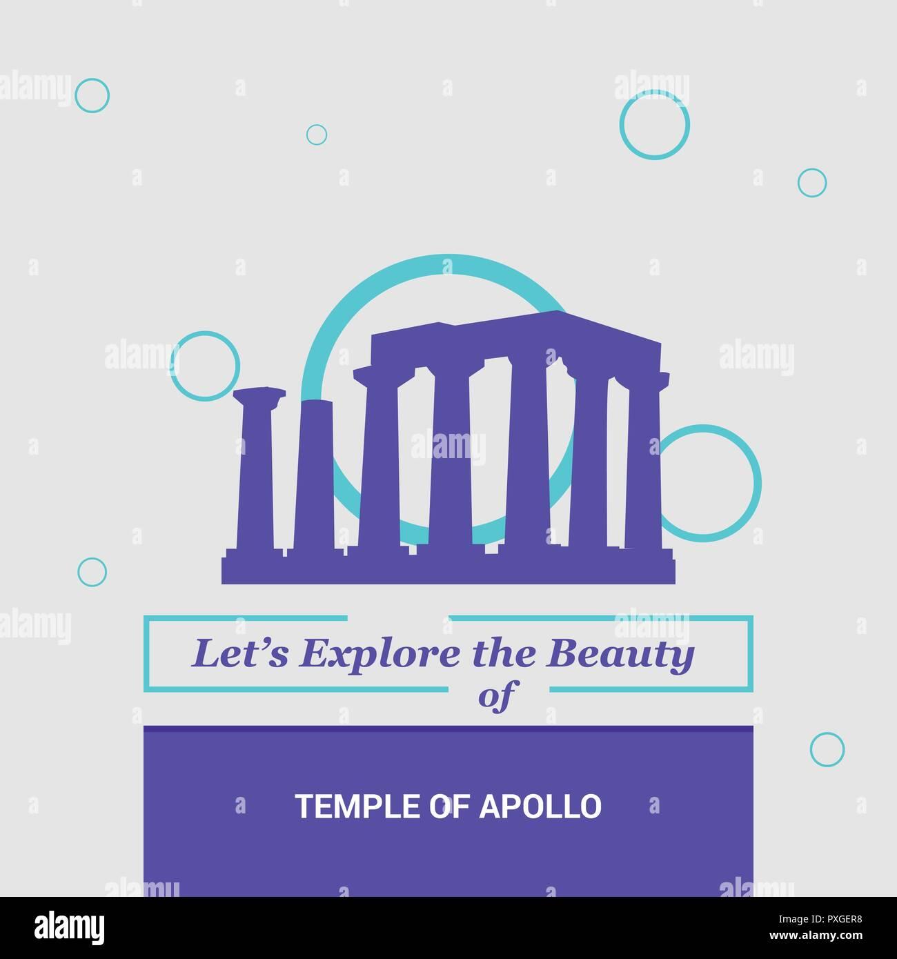 Let's Explore the beauty of Temple of Apollo Attica, Greece. National Landmarks - Stock Vector