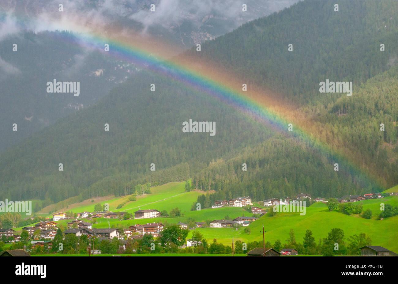 Rainbow Photographed in Neustift im Stubaital, Tyrol, Austria Stock Photo