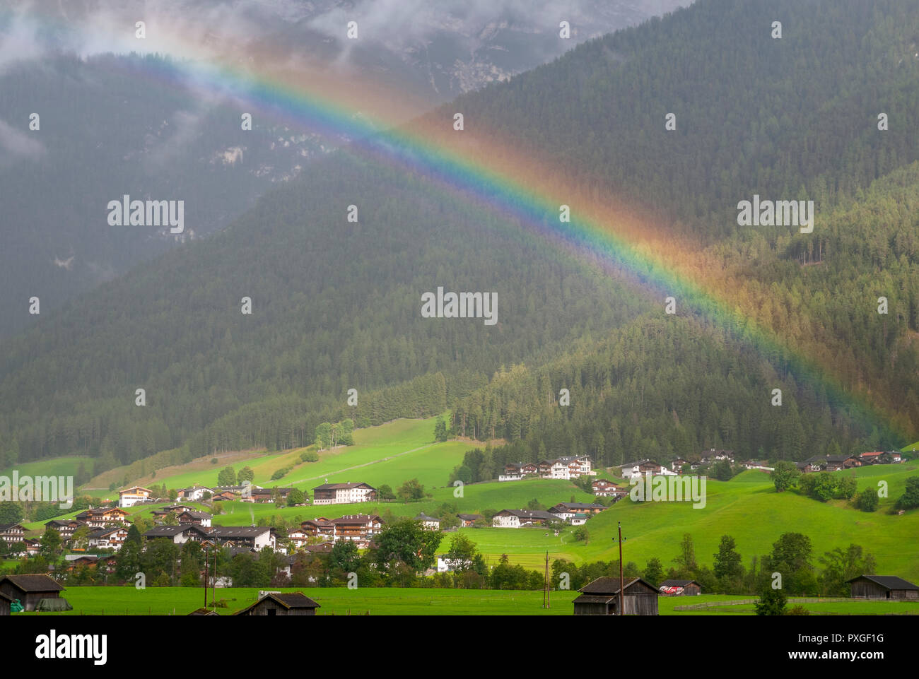 Rainbow Photographed in Neustift im Stubaital, Tyrol, Austria - Stock Image