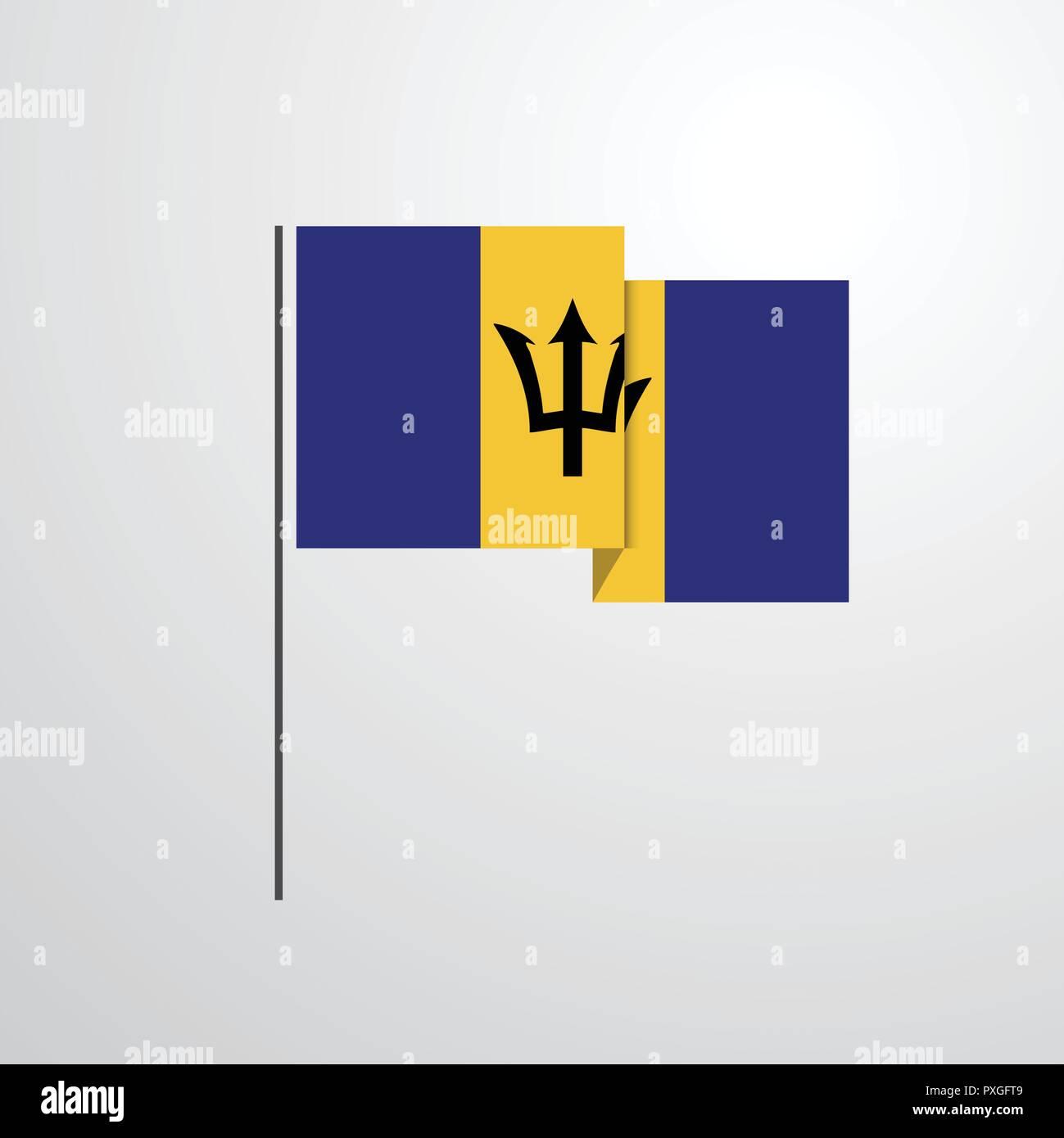 Barbados waving Flag design vector Stock Vector