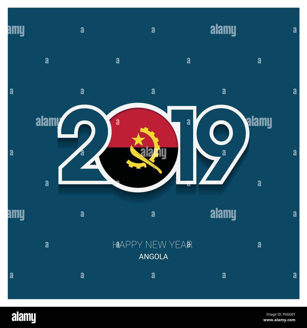 2019 Angola Typography, Happy New Year Background - Stock Image