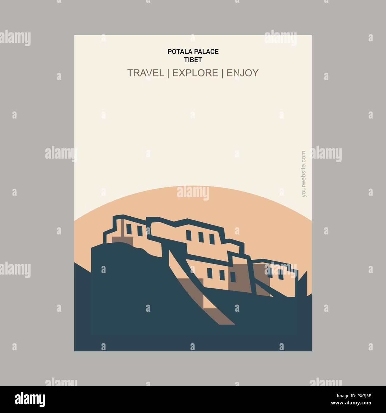 Potala Palace, Tibet Vintage Style Landmark Poster Template - Stock Vector
