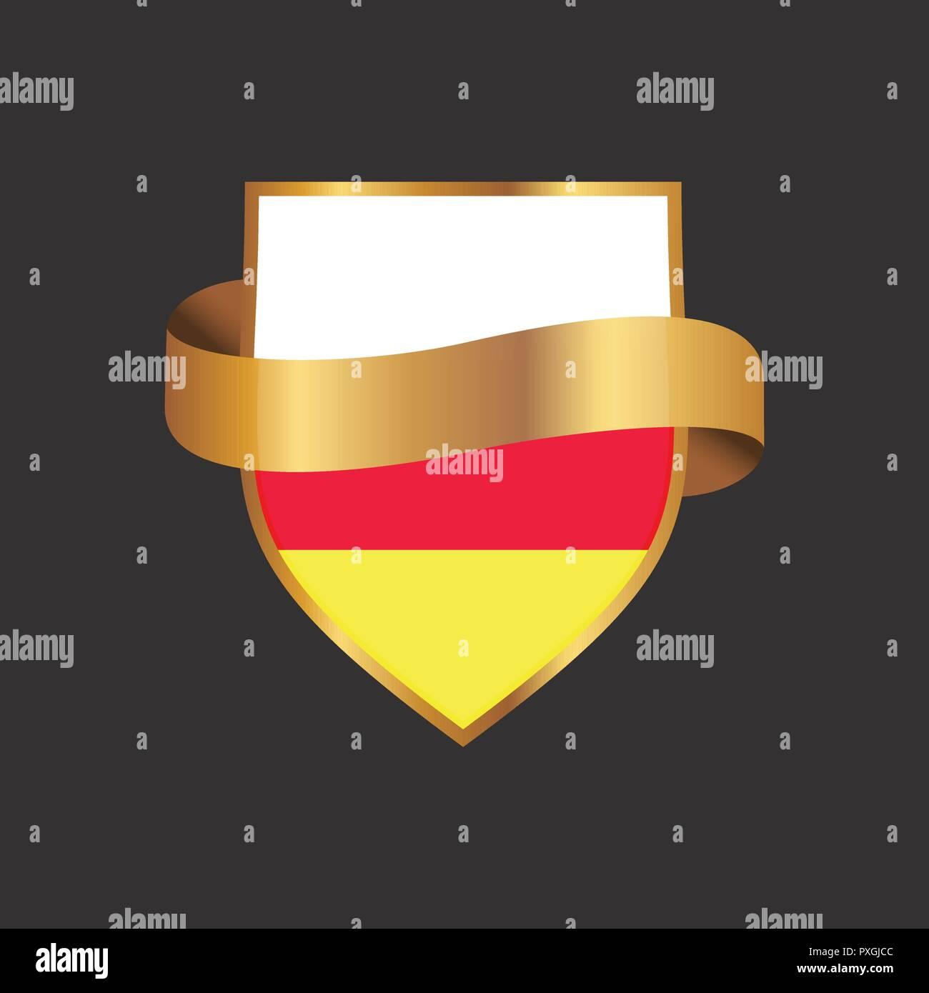 South Ossetia flag Golden badge design vector - Stock Image