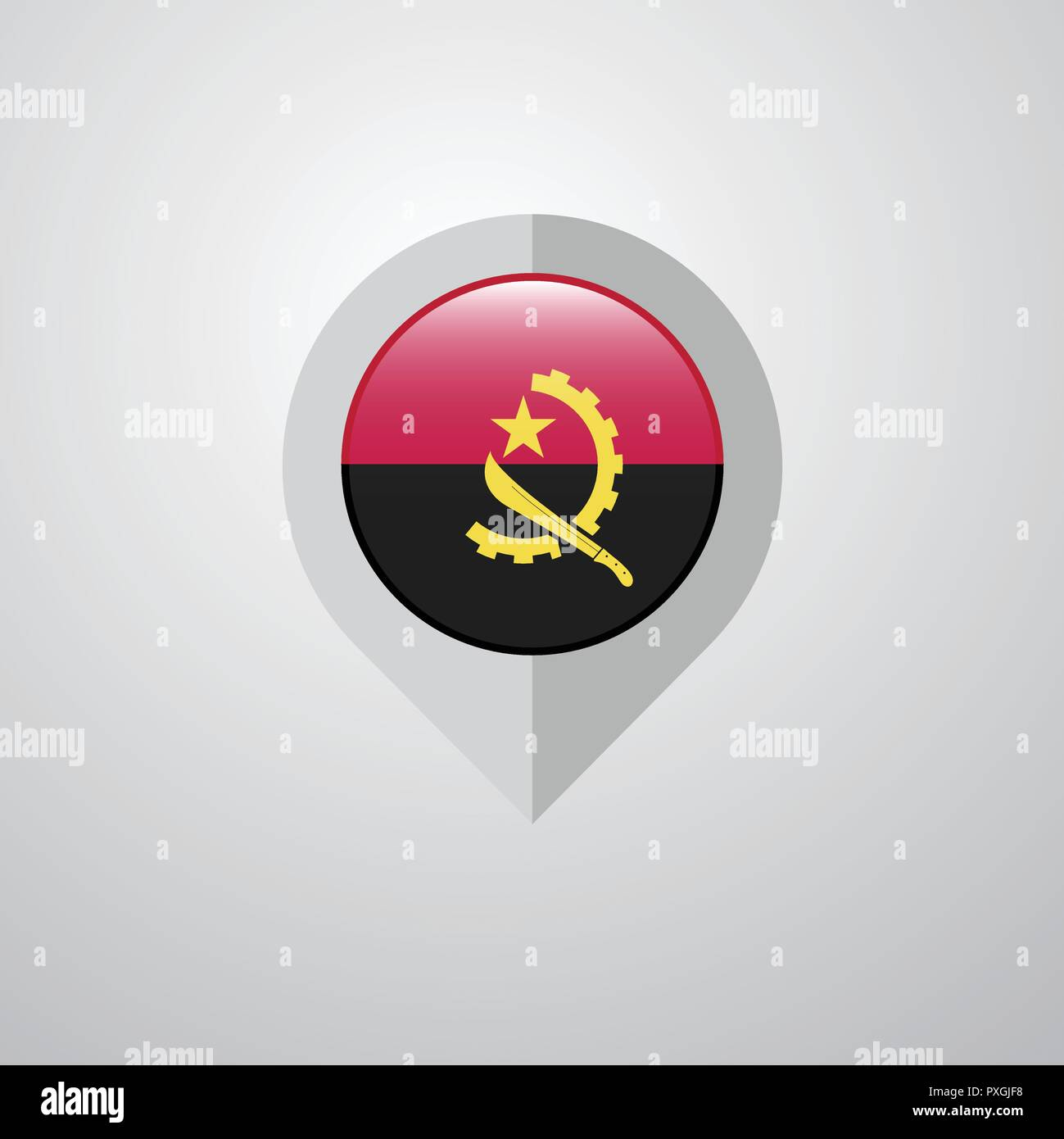 Map Navigation pointer with Angola flag design vector - Stock Image