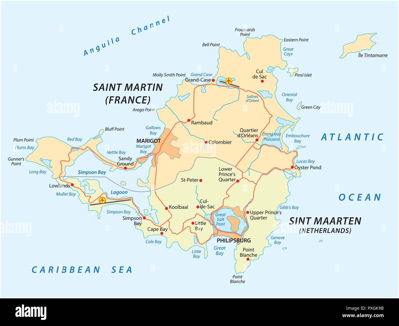 road vector map of Saint-Martin-Sint Maarten. - Stock Image