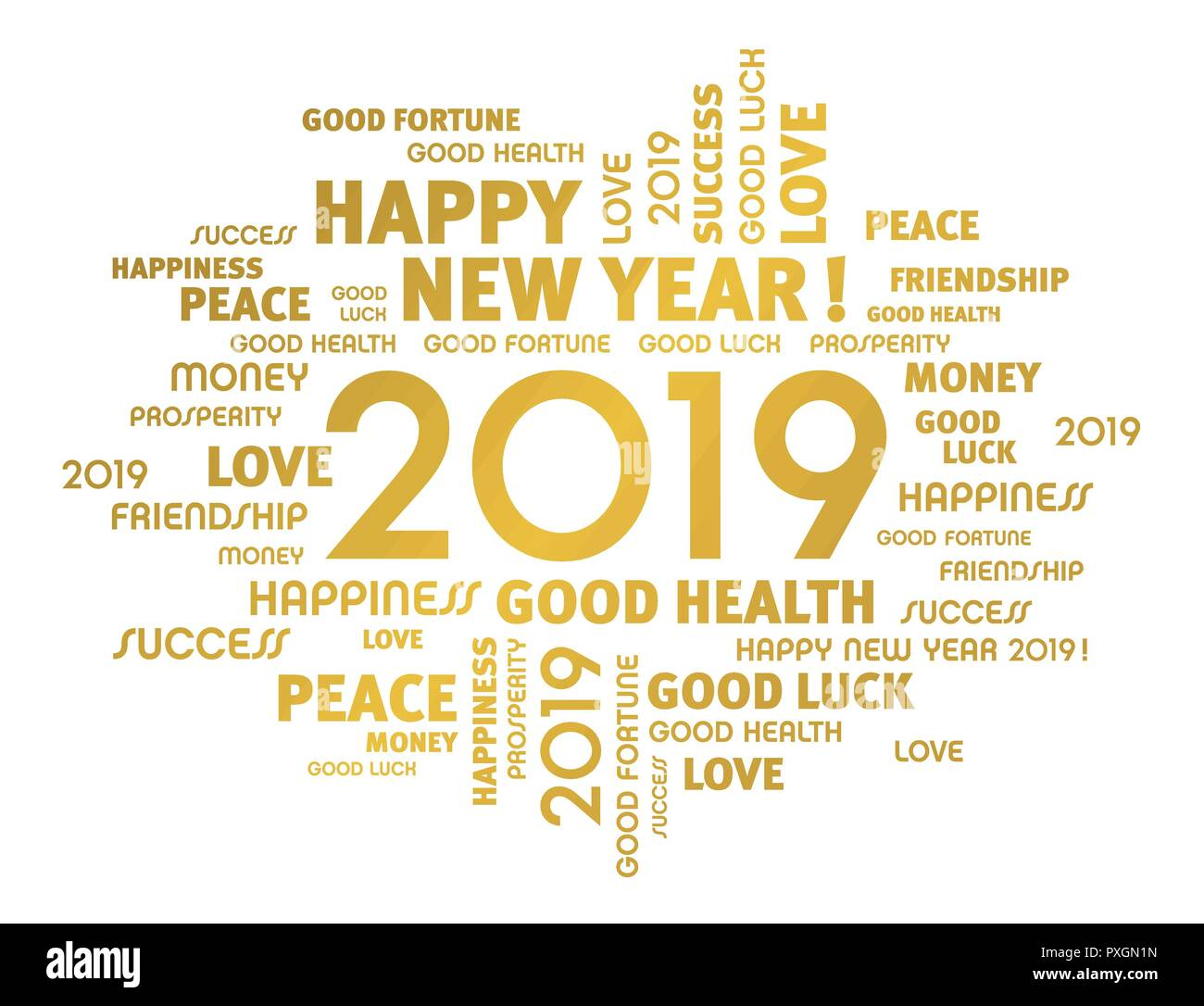 Gold Greeting Words Around New Year Date 2019, Isolated On White