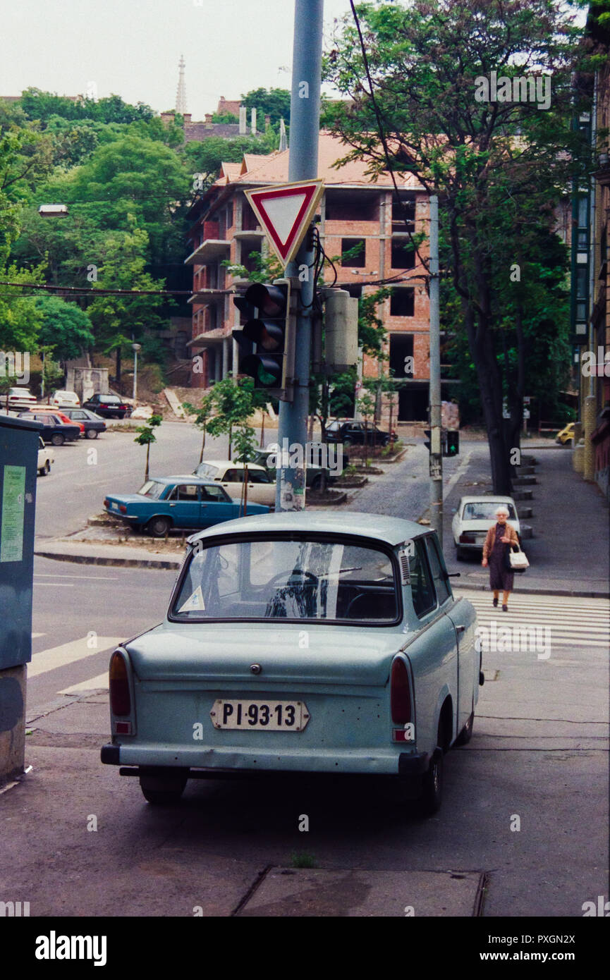 Archive image of a light blue Trabant saloon car, Budapest, Hungary, 1992 - Stock Image