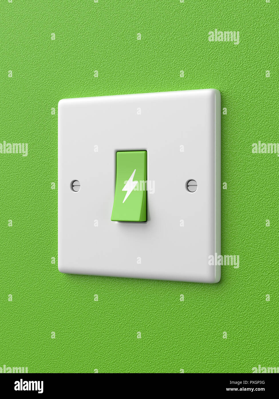 3d rendered angled view of a single green light switch with ... on symbol for headlight, symbol for fuel tank, symbol for faucet, symbol for distributor, symbol for screw, symbol for remote control, symbol for condenser, symbol for button, symbol for cable, symbol for brake, symbol for light resistor, symbol for frame, symbol for grill, symbol for tachometer, symbol for hammer, symbol for fluorescent light, symbol for muffler, symbol for electric outlet, symbol for pilot light, symbol for wall light,